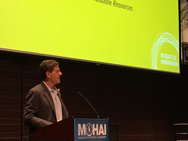 Nick Hanauer speaking at MOHAI on Tuesday
