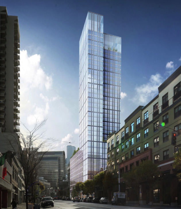 The Third & Lenora building. Rendering via City of Seattle.