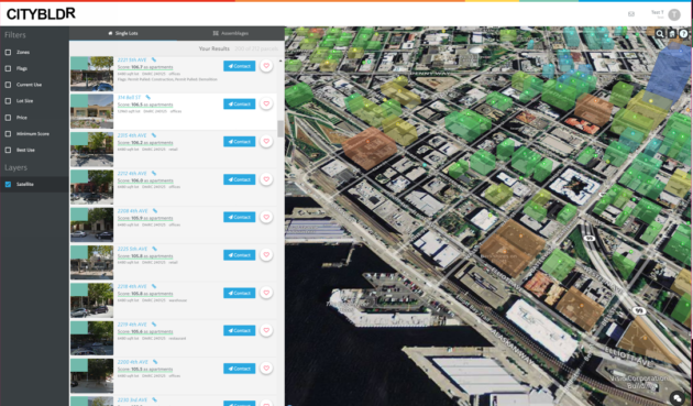 CityBldr helps users visualize profit potential by color-coding how well current buildings utilize their land. Image via CityBldr.
