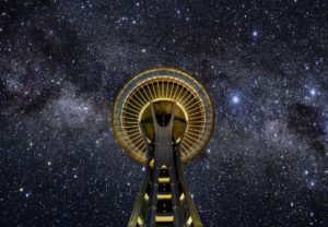 Space Needle and stars