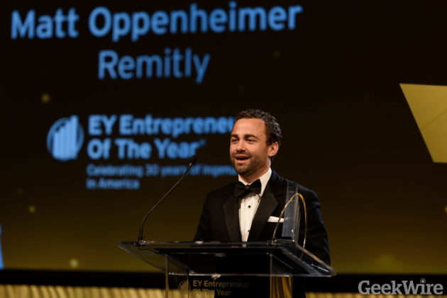Matt Oppenheimer of Remitly at the EY Entrepreneur of the Year Awards