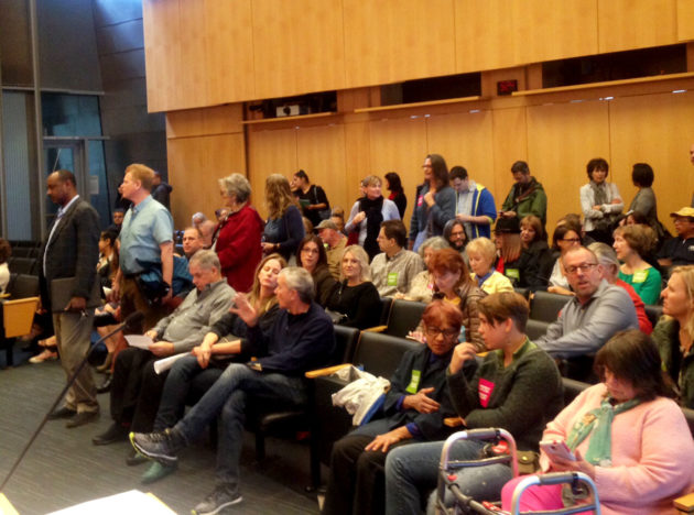 Residents line up to speak about the City Council's proposed short-term rental regulations.