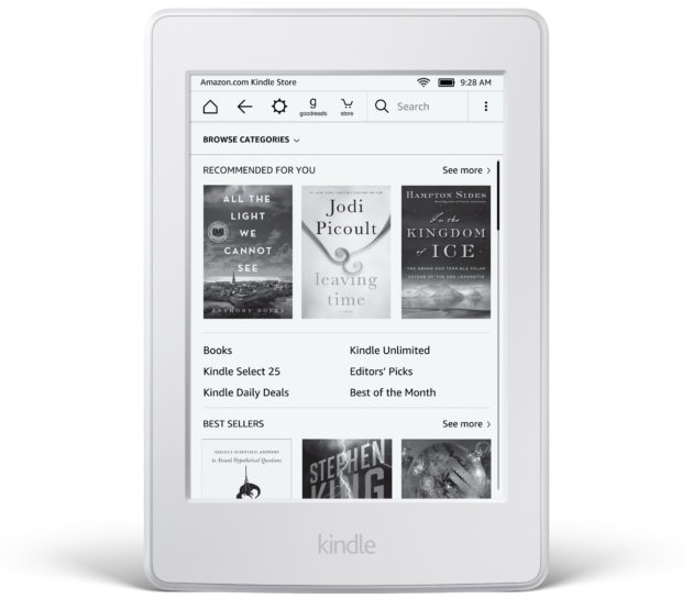 Kindle Paperwhite, in white.