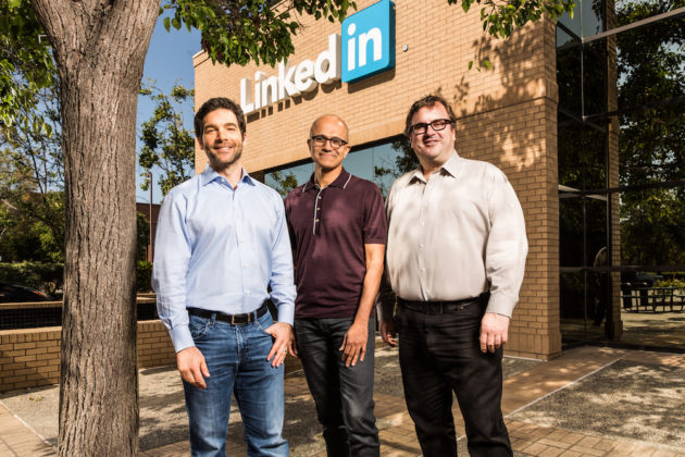 LinkedIn CEO, Microsoft Satya Nadella and LinkedIn Chairman Reid Hoffman. (Microsoft Photo)