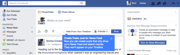 New Facebook 'Hide from Timeline' option allows you to just post in