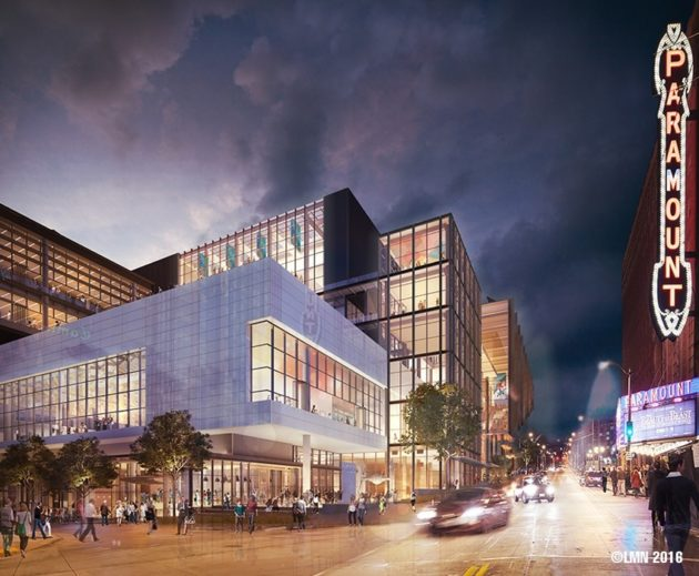 Artist's rendering of the proposed WSCC Expansion, looking northeast up Pine Street at the intersection of Ninth Avenue.