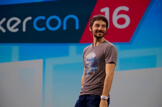 Docker founder and CTO Solomon Hykes opens the event this morning. (GeekWire Photo)