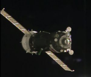 Soyuz spacecraft near space station