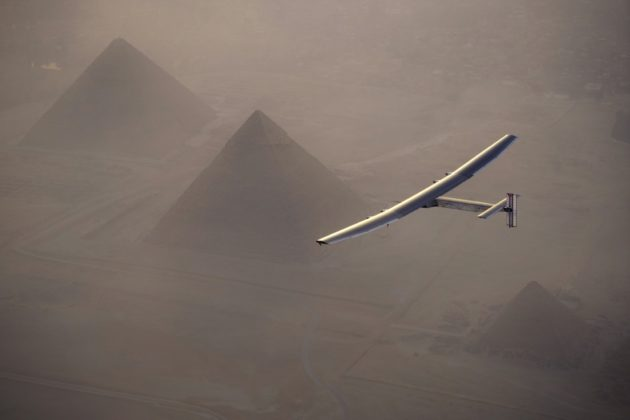 Solar Impulse over the pyramids