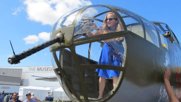 Amelia Wilson in nose compartment at Boeing centennial