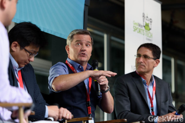 Henry Nguyen, Jeff Mallett & Adrian Hanauer speak at the GeekWire Sports Tech Summit