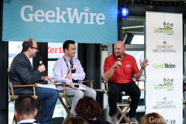GeekWire's Todd Bishop (left) and Taylor Soper interview Los Angeles Clippers owner Steve Ballmer.