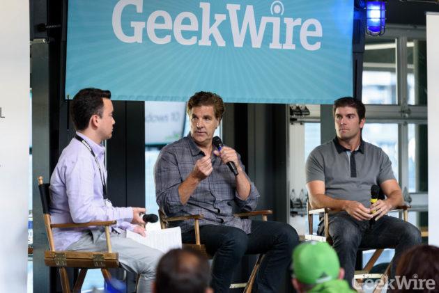 Brad Allen (center) and Derek Belch (right) speak at the GeekWire Sports Tech Summit.