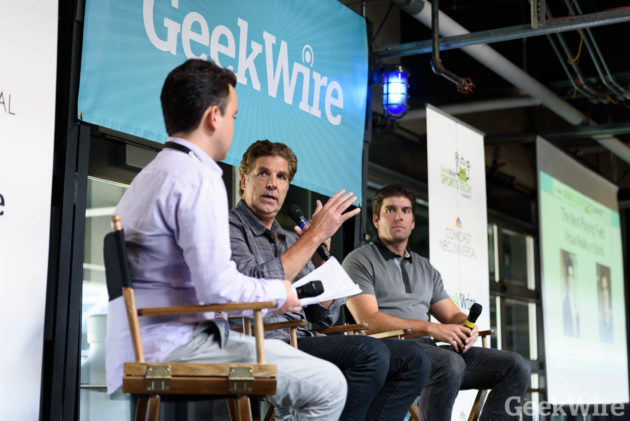 Brad Allen & Derek Belch speak at the GeekWire Sports Tech Summit