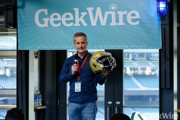 Dave Marver speaks at the GeekWire Sports Tech Summit