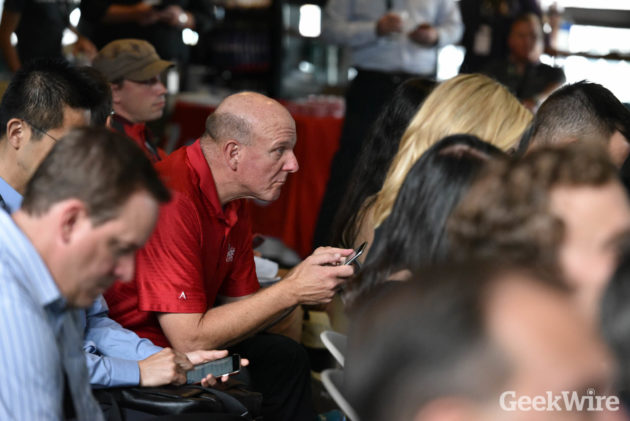 L.A. Clippers owner Steve Ballmer waits to speak at the GeekWire Sports Tech Summit. Credit: Kevin Lisota