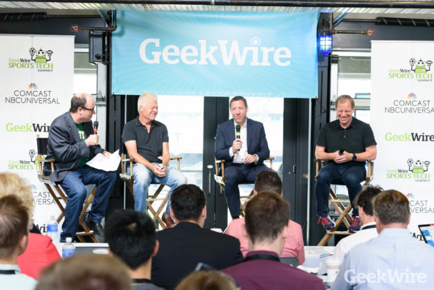 GeekWire co-founder Todd Bishop moderates a panel with Mike Slade, who launched ESPN.com,