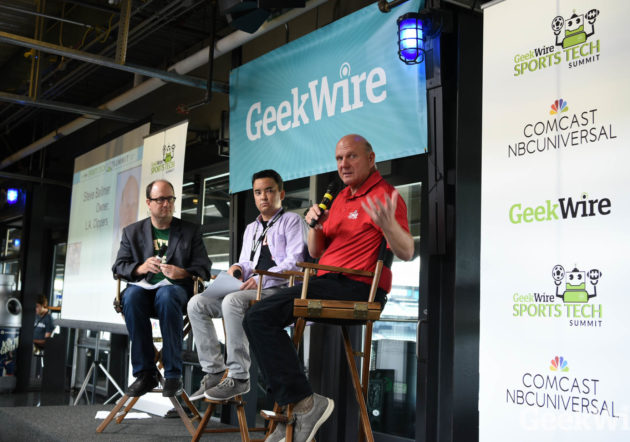 Los Angeles Clippers owner Steve Ballmer, right, joins GeekWire's Todd Bishop, left, and Taylor Soper at the Sports Tech Summit on Tuesday. (Kevin Lisota / GeekWire)