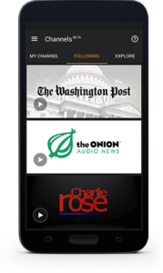 A beta version of Audible's new Channels service, which launched this morning