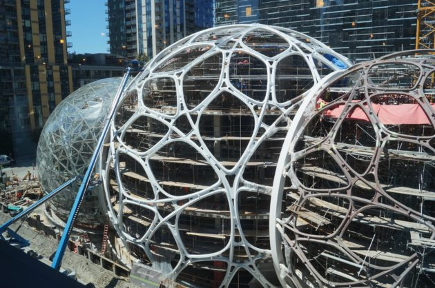 A look at the three spheres Amazon is building as part of its Denny Triangle headquarters. Nat Levy / GeekWire Photo