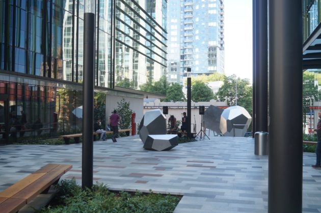 A courtyard in the middle of Amazons Doppler building in the Denny Triangle. Nat Levy / GeekWire Photo