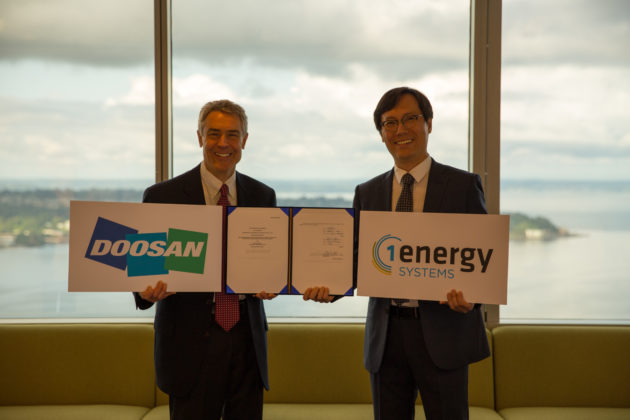 David Kaplan, founder of 1Energy and Daejin Choi, CEO of Doosan GridTech