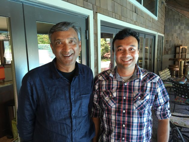 Former Microsoft exec Anoop Gupta, CEO and co-founder, with Aravind Bala, CTO and co-founder. Their startup is developing a new messaging service called Telo. (GeekWire Photo / Todd Bishop)