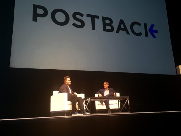 Tune CEO Peter Hamilton talks with Ray Kurzweil at Postback.