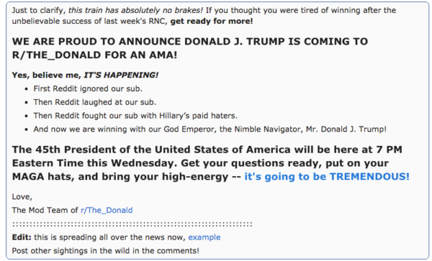 Donald Trump will host a Reddit AMA during Obama's DNC speech – GeekWire