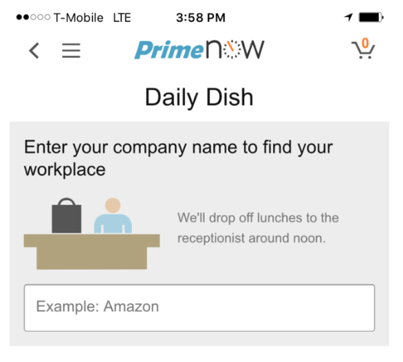 Daily Dish is accessed via Amazon's Prime Now app, but it's only available in select Seattle zip codes for now.
