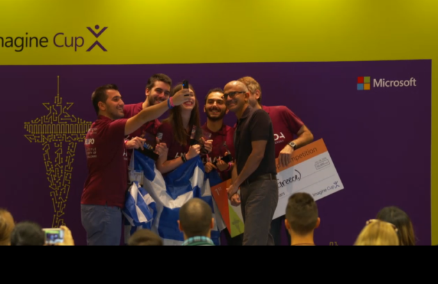 Team AMANDA from Greece takes a selfie with Microsoft CEO Satya Nadella after winning the world citizenship category in the 2016 Microsoft Imagine Cup.