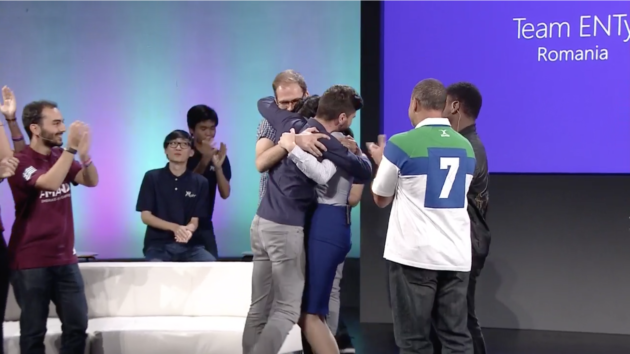 Team ENTy celebrates after being named the winners of the 2016 Microsoft Imagine Cup Friday.