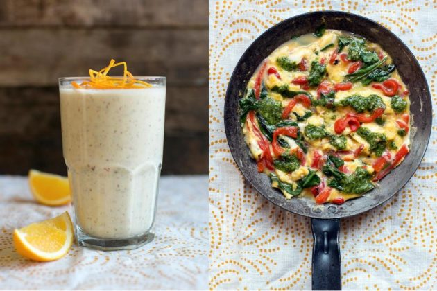 Sun Basket's meal plans include recipes like this breakfast: an orange-almond smoothie and summer frittada. Photo from Sun Basket.