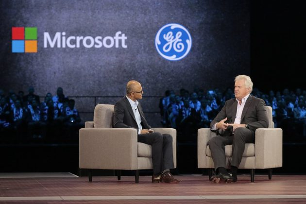 Microsoft's Satya Nadella and GE's Jeff Immelt at Microsoft's Worldwide Partner Conference in Toronto this morning. (Microsoft Photo.)