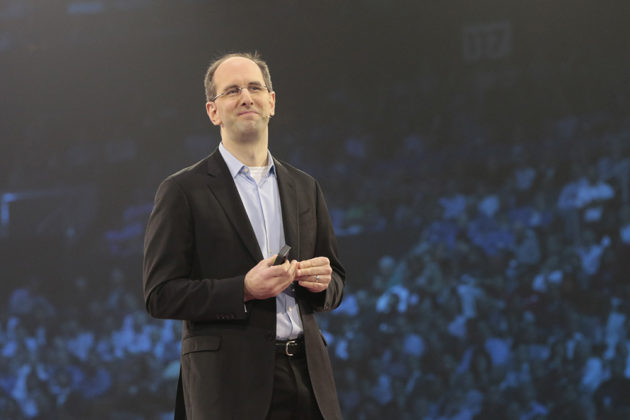 Scott Guthrie, Microsoft Executive Vice President, Cloud and Enterprise, at WPC this morning. (Microsoft Photo)