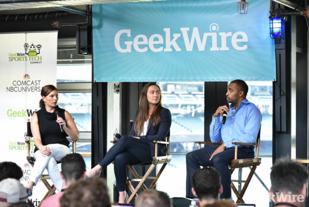 Seattle Seahawks wide receiver Doug Baldwin, right, and former US Olympic swimmer Ariana Kukors joins (Kevin Lisota / GeekWire)