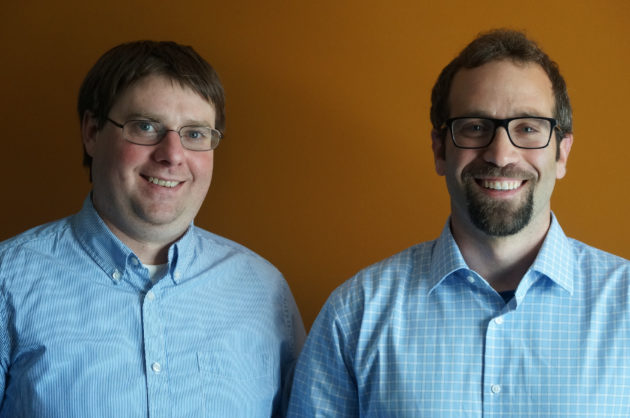 Pebblebee co-founders Nick Pearson-Franks and Daniel Daoura. (GeekWire Photo)