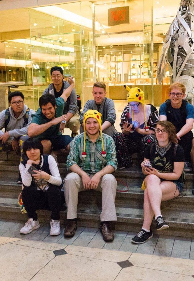 Event organizer Brandon Gross, in front in Pokémon hat. (Photo via Mee Minamoto)