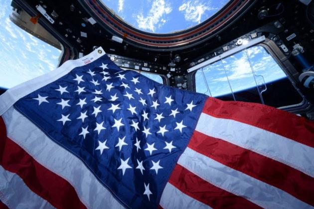 U.S. flag on space station
