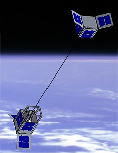 An artist's conception shows the STARS-C mother and daughter satellite connected by a tether in orbit, (Credit: Kagawa University)