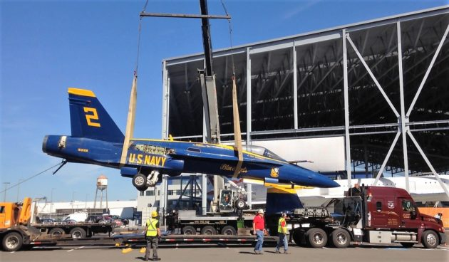 Blue Angels jet raised