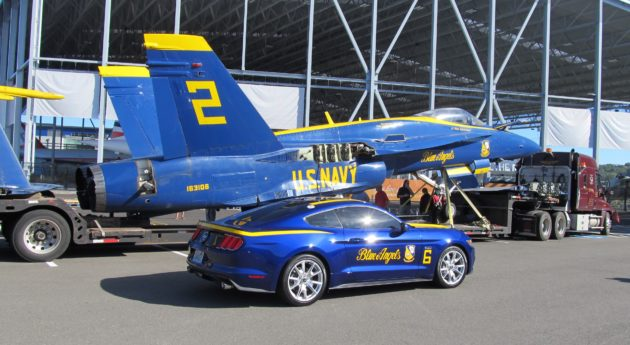 """Superfan"" Ken Yohe decorated his Ford Mustang sports car with a Blue Angels motif for Seattle's Seafair festival, and for the jet's arrival. (GeekWire photo by Alan Boyle)"