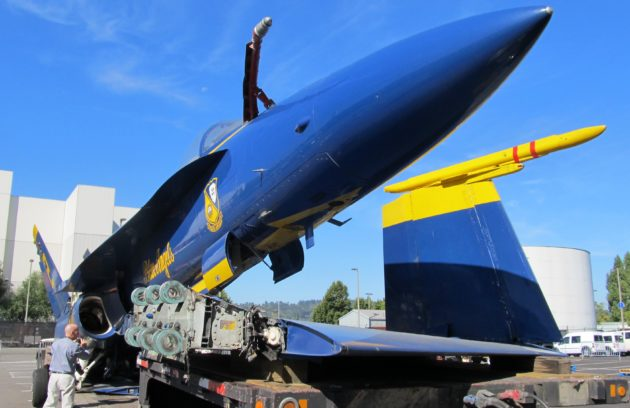 Blue Angels jet on truck