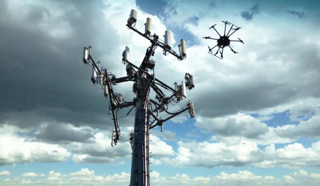 Drone at cell tower