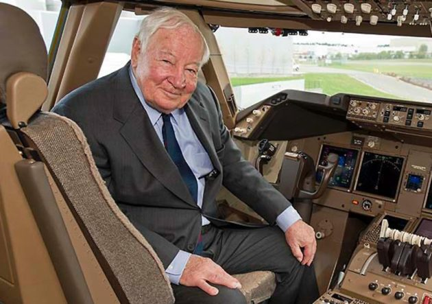 Joe Sutter in cockpit
