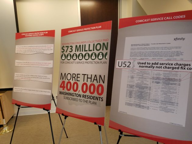 Poster boards from the Washington Attorney General's office help explain its $100 million lawsuit against Comcast.