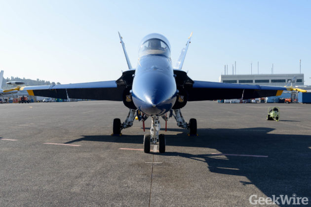 A F/A-18 Hornet fighter jet is ready for its close-up during Seafair weekend. (GeekWire photo by Kevin Lisota)
