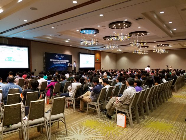 The crowd at Saturday's event was largely Chinese-speaking and engineering-focused.