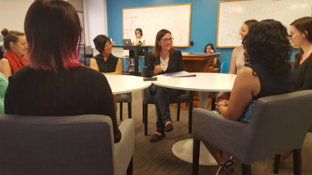 Congresswoman Suzan DelBene speaks with students and staff at Ada Developers Academy about obstacles to minorities entering the tech field.
