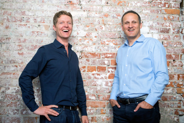 Christian Chabot, Tableau co-founder and chairman, with new Tableau CEO Adam Selipsky. Photo via Michael Clinard/Tableau.